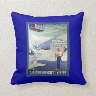 Vintage Ski Poster, Czeuchoslavakia winter sports Cushion