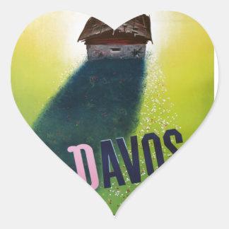 Vintage Ski poster, Davos, Switzerland Heart Sticker
