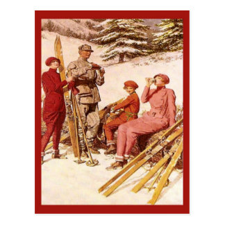 Vintage Ski poster, Fashion on the piste Postcard
