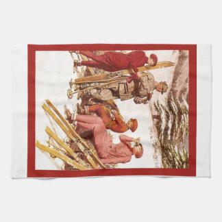 Vintage Ski poster, Fashion on the piste Tea Towel