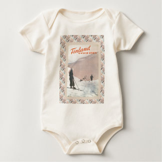 Vintage Ski poster, Finland for winter sports Baby Bodysuit
