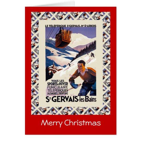 Vintage Ski Poster,  France, St Gervais les Bains Card