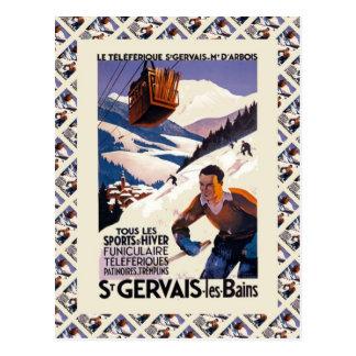 Vintage Ski Poster,  France, St Gervais les Bains Postcard