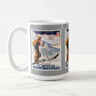 Vintage Ski Poster, Italy, Dolomites Cortina Classic White Coffee Mug