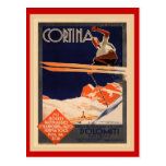 Vintage Ski Poster, Italy, Dolomites Cortina Post Cards