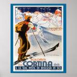 Vintage Ski Poster, Italy, Dolomites Cortina Poster