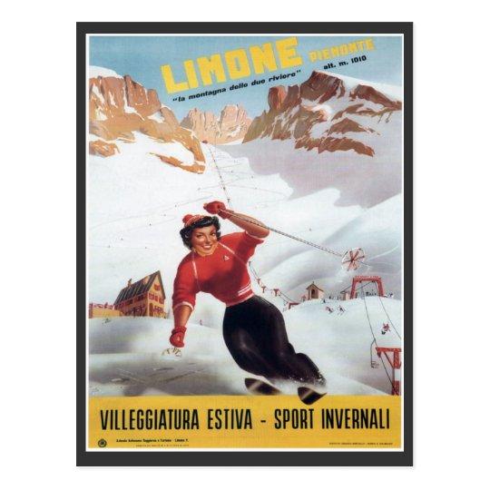 Vintage Ski Poster,  Italy, Limone Postcard