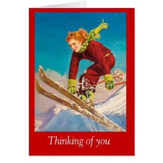 Vintage Ski Poster, Lady downhill skier Card