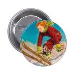 Vintage ski poster, lady ski jumper pinback buttons
