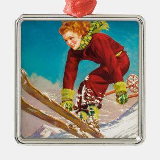 Vintage ski poster, lady ski jumper christmas ornament