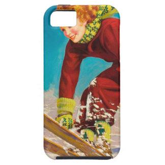 Vintage ski poster, lady ski jumper iPhone 5 cases