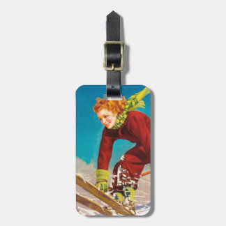 Vintage ski poster, lady ski jumper luggage tag