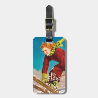 Vintage ski poster, lady ski jumper travel bag tag