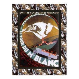 Vintage Ski Poster,  Le Tour du Mt Blanc Postcard