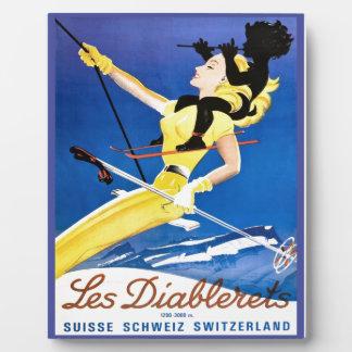Vintage Ski poster, Les Diablerets, Switzerland Plaque