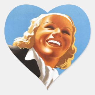 Vintage Ski poster Niedosterreich Heart Sticker