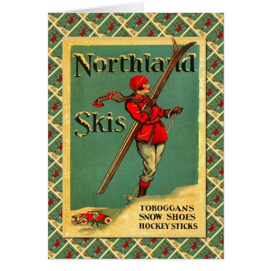 Vintage Ski Poster,  Northland Skis Card