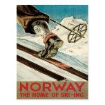 Vintage Ski Poster, Norway Postcard