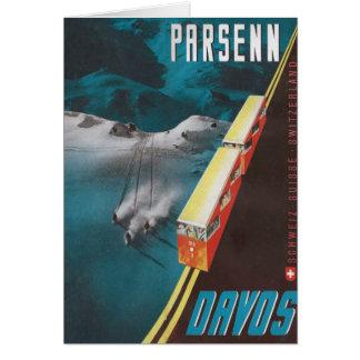 Vintage Ski poster, Parsenn, Davos Card