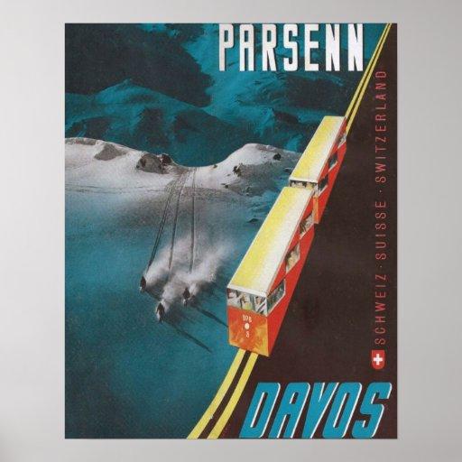 Vintage Ski poster, Parsenn, Davos Poster