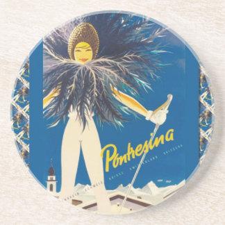 Vintage Ski poster, Pontresina Coaster