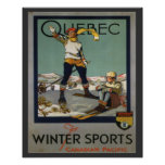 Vintage Ski Poster,  Quebec for winter sports