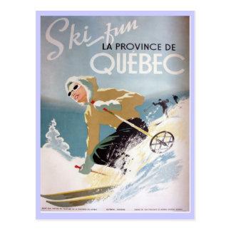 Vintage Ski Poster,  Quebec Postcard