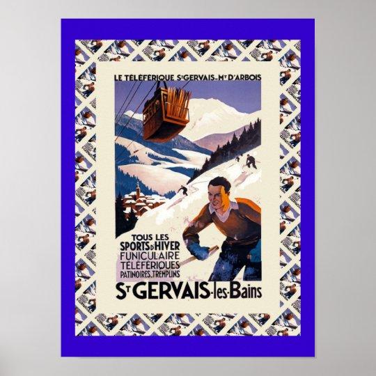 Vintage Ski Poster, Saint Gervais les Bains Poster