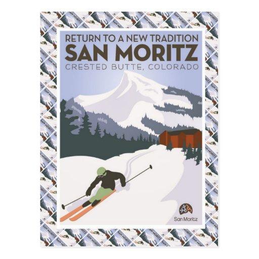 Vintage Ski Poster,  San Moritz Crested Butte, Postcards