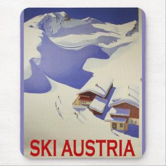 Vintage Ski Poster, Ski Austria Mouse Mat