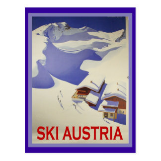 Vintage Ski Poster, Ski Austria Post Card