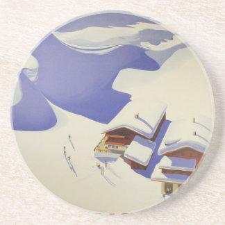 Vintage Ski Poster, Ski Austria Sandstone Coaster