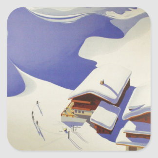 Vintage Ski Poster, Ski Austria Square Sticker