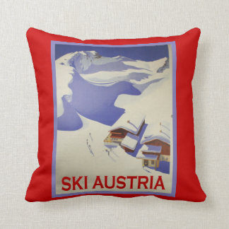 Vintage Ski Poster, Ski Austria Throw Pillow