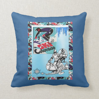 Vintage ski poster, Ski Colorado Cushion
