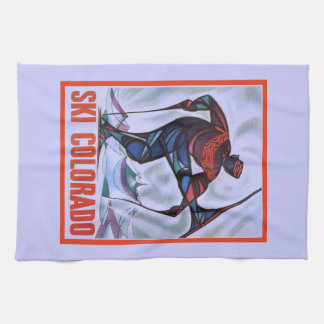 Vintage ski poster, Ski Colorado Tea Towel