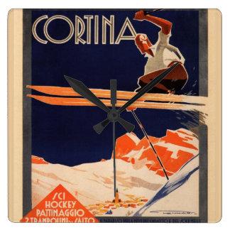 Vintage Ski Poster, Ski Cortina, Italy Square Wall Clock
