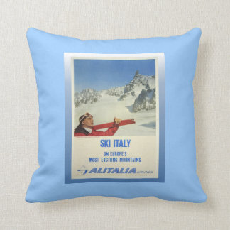 Vintage Ski Poster, Ski Italy, Alitalia Cushion