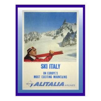 Vintage Ski Poster, Ski Italy, Alitalia Postcard