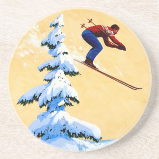 Vintage Ski Poster, Ski jumper and pine trees Beverage Coaster