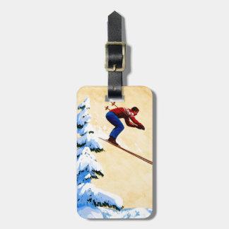 Vintage Ski Poster, Ski jumper and pine trees Luggage Tags