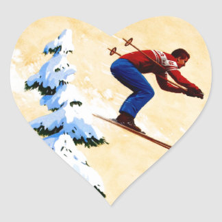 Vintage Ski Poster, Ski jumper and pine trees Stickers
