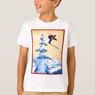 Vintage ski poster, Ski jumper and pine trees T-Shirt