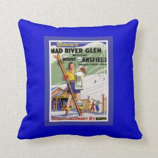 Vintage Ski Poster, Ski Mad RIver Creek Cushion