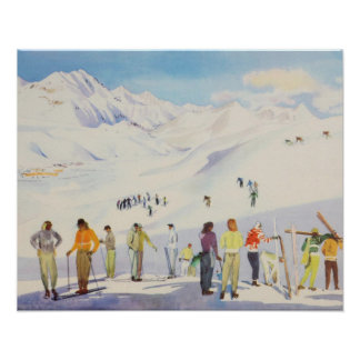Vintage ski poster,   Skiers on the mountain Poster