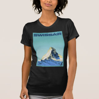 Vintage ski poster, SwissAir, Zermatt, Matterhorn Tee Shirts