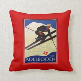 Vintage Ski Poster, Switzerland, Adelboden Cushion