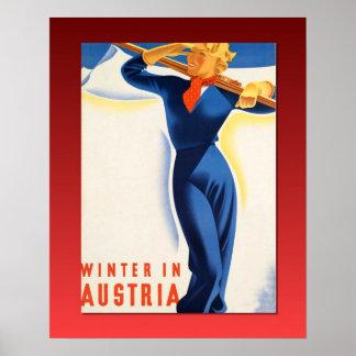 Vintage Ski poster, Winter in Austria Poster