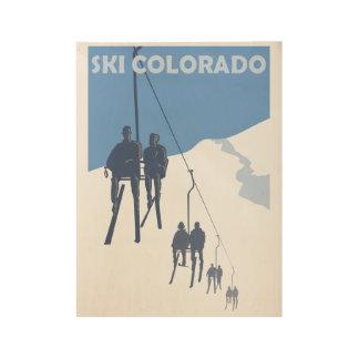 Vintage Ski Poster Wood Poster