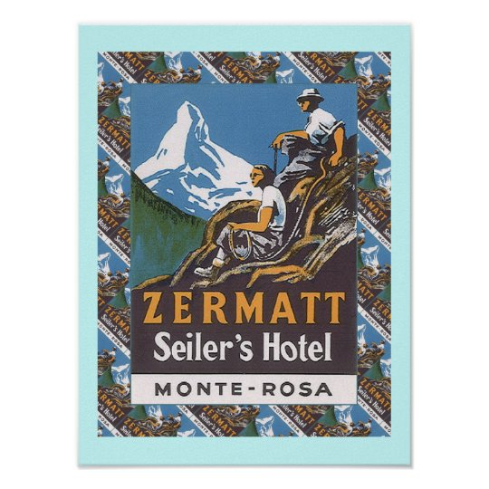 Vintage Ski Poster,  Zermatt, Seiler's Hotel Poster